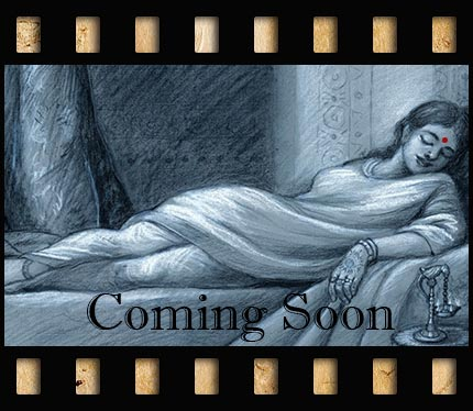Beautiful drawing of a woman on a couch which opens a pop-up describing the next project for Sunmoonstars Film Studio.